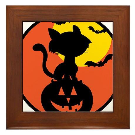Halloween Cat Framed Tile