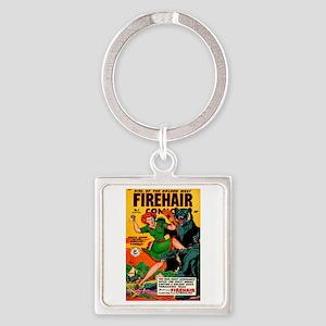 Redhead Warrior Woman Square Keychain
