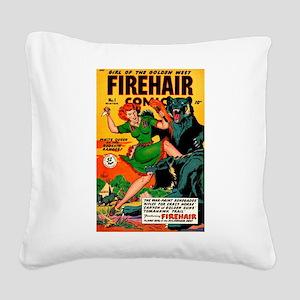 Redhead Warrior Woman Square Canvas Pillow