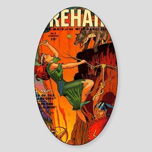 Redhead Warrior Woman Sticker (Oval)