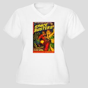 Retro Space Adventure Women's Plus Size V-Neck T-S