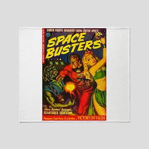 Retro Space Adventure Throw Blanket