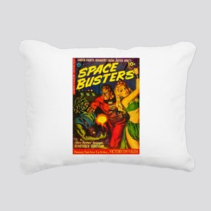 Retro Space Adventure Rectangular Canvas Pillow