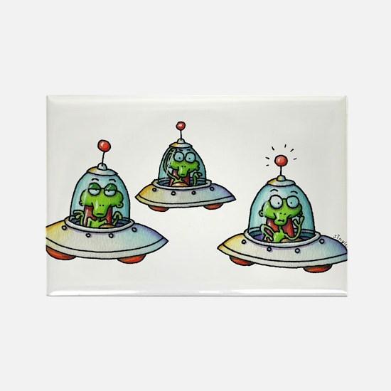 THREE ALIENS Rectangle Magnet