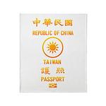 Taiwan Passport Throw Blanket