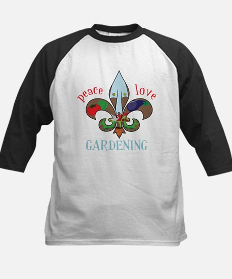 Peace Love Gardening Kids Baseball Jersey