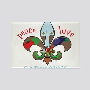 Peace Love Gardening Rectangle Magnet