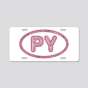 PY Pink Aluminum License Plate