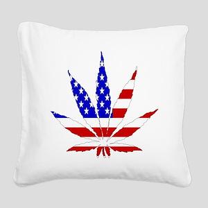 American Pot Leaf Square Canvas Pillow