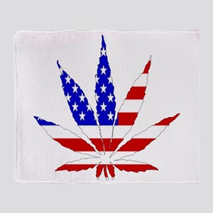 American Pot Leaf Throw Blanket