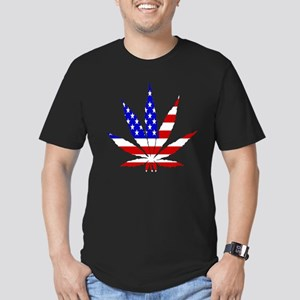 American Pot Leaf Men's Fitted T-Shirt (dark)