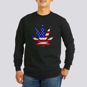 American Pot Leaf Long Sleeve Dark T-Shirt