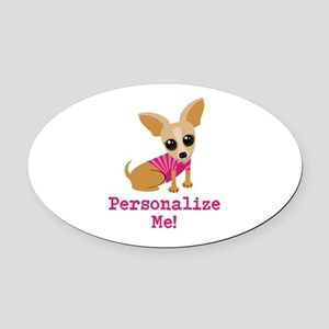 Custom Pink Chihuahua Oval Car Magnet