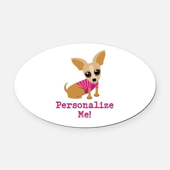 Custom Pink Chihuahua Oval Car Magnet