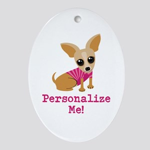 Custom Pink Chihuahua Ornament (Oval)