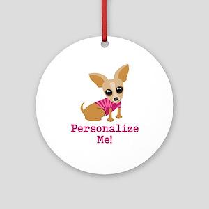 Custom Pink Chihuahua Ornament (Round)