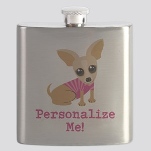 Custom Pink Chihuahua Flask