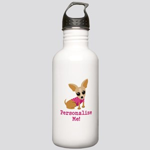 Custom Pink Chihuahua Stainless Water Bottle 1.0L