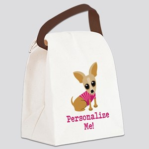 Custom Pink Chihuahua Canvas Lunch Bag