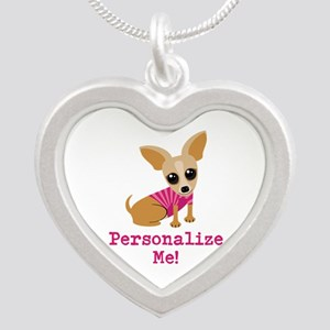 Custom Pink Chihuahua Silver Heart Necklace