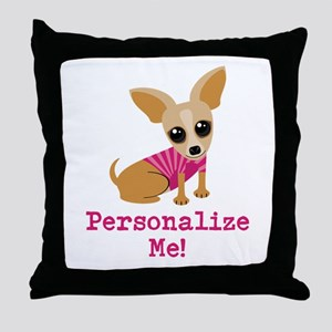 Custom Pink Chihuahua Throw Pillow