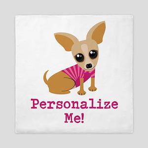 Custom Pink Chihuahua Queen Duvet