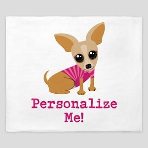 Custom Pink Chihuahua King Duvet