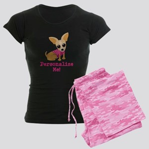 Custom Pink Chihuahua Women's Dark Pajamas