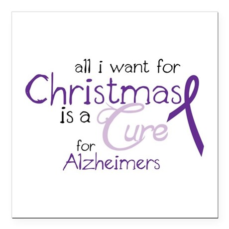 """Cure For Alzheimers Square Car Magnet 3"""" x 3"""""""