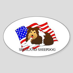 Shetland Sheepdog USA Sticker (Oval)