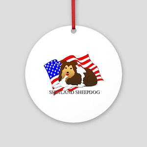 Shetland Sheepdog USA Ornament (Round)