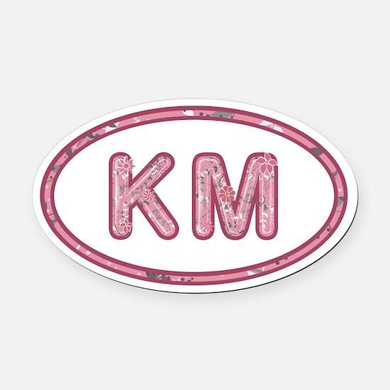 KM Pink Oval Car Magnet