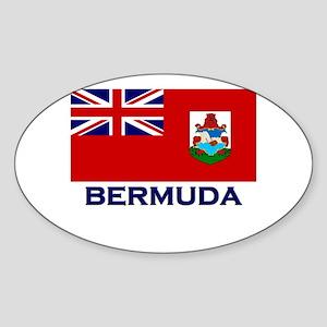 Bermuda Flag Gear Oval Sticker