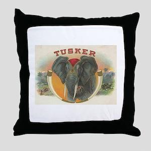 Tusker Elephant Throw Pillow