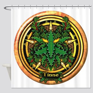 Holly Celtic Greenman Pentacle Shower Curtain