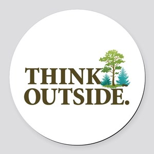 Think Outside Round Car Magnet