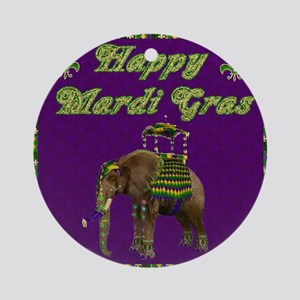 Happy Mardi Gras Elephant Ornament (Round)
