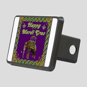 Happy Mardi Gras Elephant Rectangular Hitch Cover