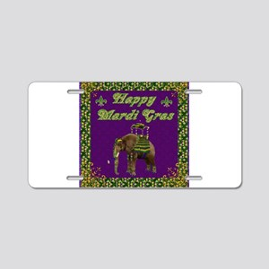 Happy Mardi Gras Elephant Aluminum License Plate