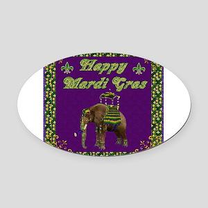 Happy Mardi Gras Elephant Oval Car Magnet