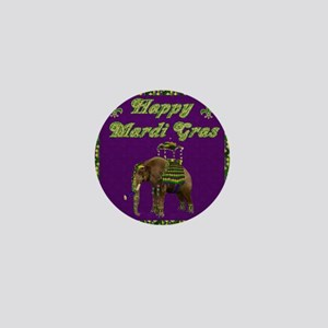 Happy Mardi Gras Elephant Mini Button
