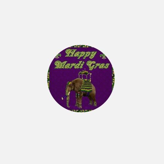 Happy Mardi Gras Elephant Mini Button