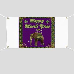 Happy Mardi Gras Elephant Banner