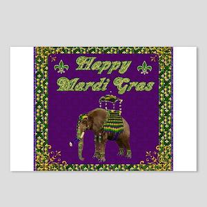 Happy Mardi Gras Elephant Postcards (Package of 8)