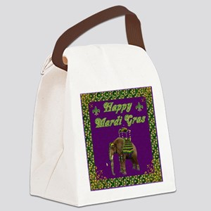 Happy Mardi Gras Elephant Canvas Lunch Bag
