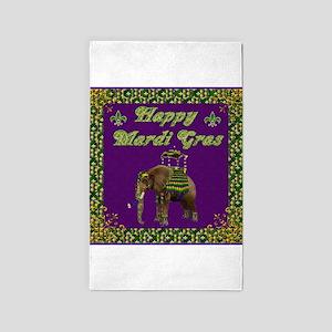 Happy Mardi Gras Elephant 3'x5' Area Rug