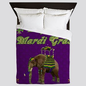 Happy Mardi Gras Elephant Queen Duvet