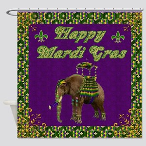 Happy Mardi Gras Elephant Shower Curtain