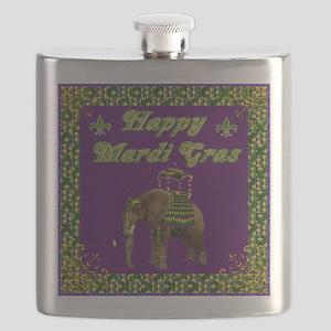 Happy Mardi Gras Elephant Flask