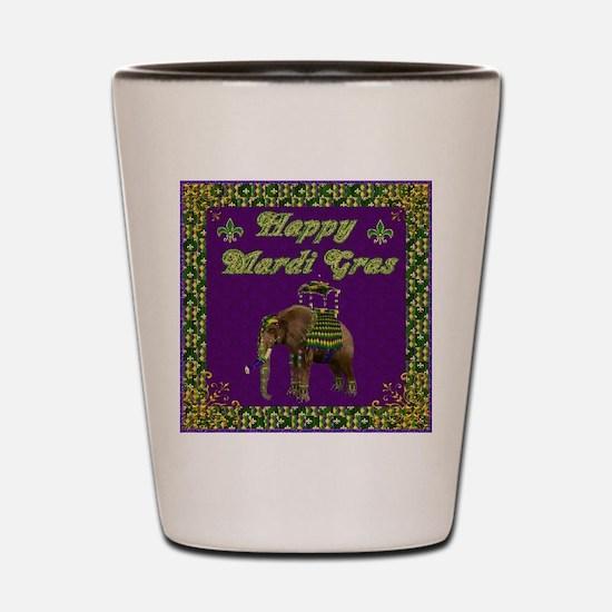 Happy Mardi Gras Elephant Shot Glass